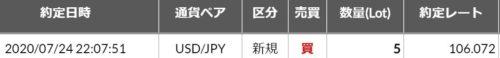 fx ドル円 約定